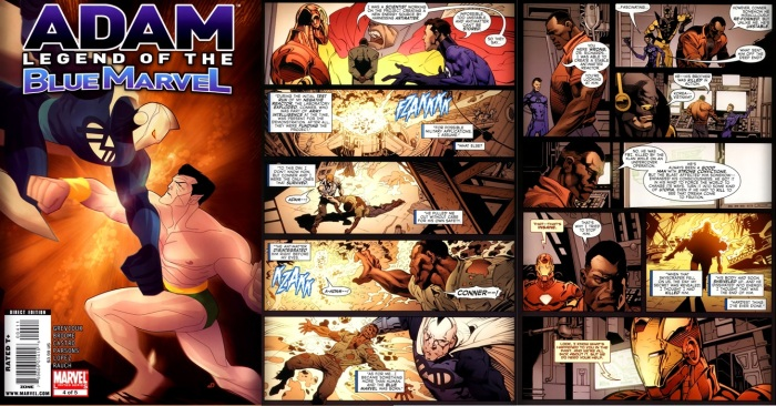 Origin of Blue Marvel from Adam the Blue Marvel #4, Story by Kevin Grevioux