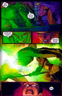 Shuri slays Radioactive man from Black Panther (2005) #6, art by John Romita Jr. Story by Reginald Hudlin