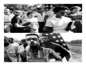 15 year old Elizabeth Eckford (top photo) unknown youth protester (bottom photo)